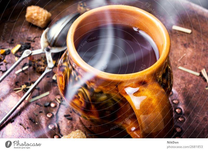Heißer Kräutertee Tee Tasse Gesundheit trinken heiß Getränk Glas grün Frühstück Blatt Teetasse Becher Kraut Kräuterbuch Tisch Lebensmittel braun organisch