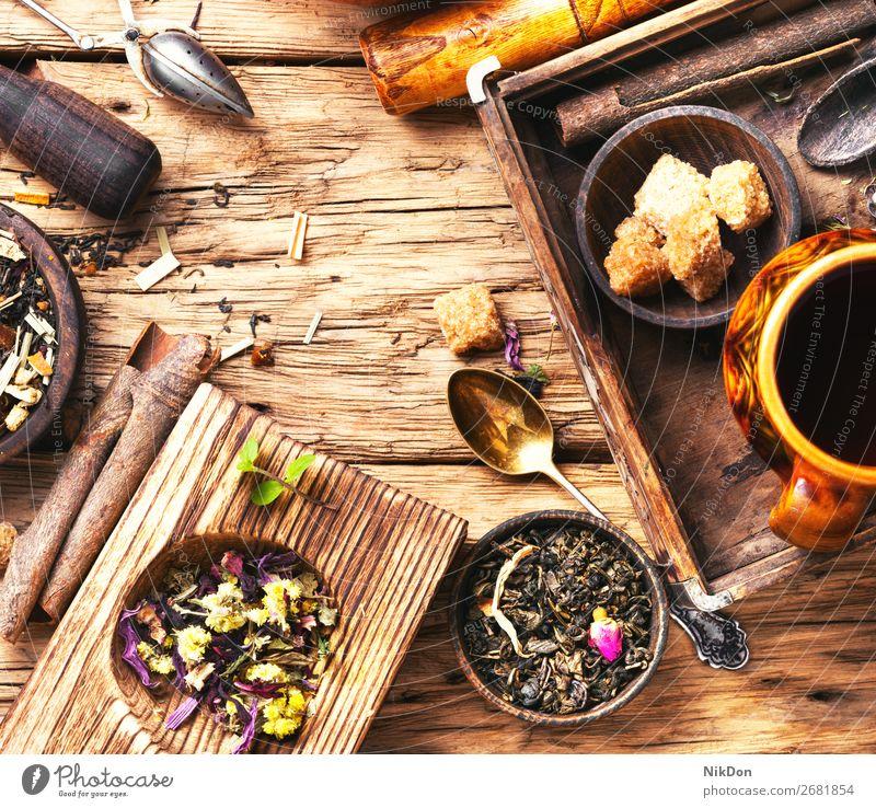 Blätter von Kräutertee Tee Blatt trinken Tasse Gesundheit Kraut natürlich Antioxidans Schalen & Schüsseln Zucker Zimt Gewürz rustikal retro trocknen Kräuterbuch