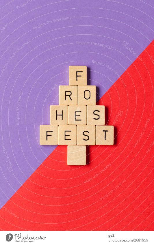 Frohes Fest Spielen Feste & Feiern Weihnachten & Advent Papier Dekoration & Verzierung Holz Zeichen Schriftzeichen ästhetisch Fröhlichkeit schön violett rot