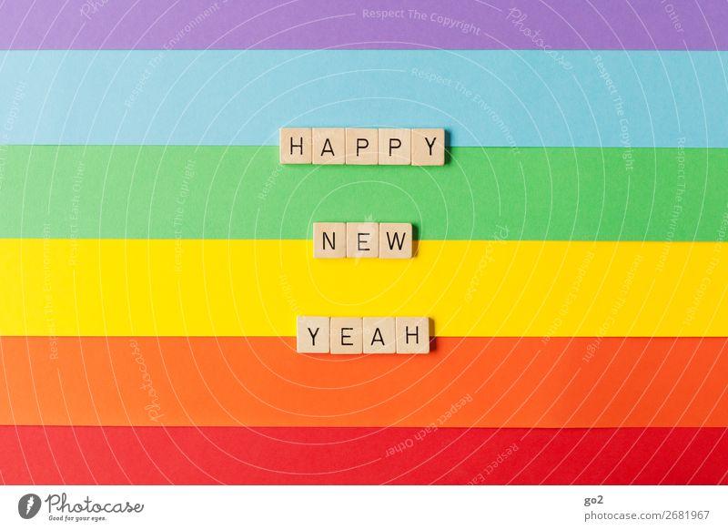 Happy New Yeah Spielen Feste & Feiern Silvester u. Neujahr Geburtstag Papier Dekoration & Verzierung Holz Schriftzeichen ästhetisch Freundlichkeit Fröhlichkeit