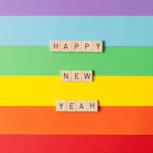 Happy New Yeah Freizeit & Hobby Spielen Feste & Feiern Weihnachten & Advent Silvester u. Neujahr Geburtstag Papier Dekoration & Verzierung Holz Schriftzeichen