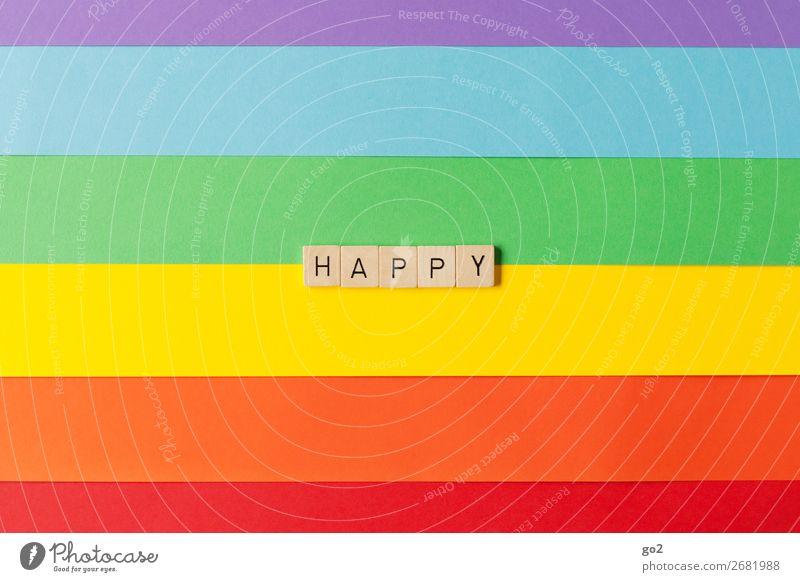 Happy Farbe Freude Holz Leben Gefühle Glück Feste & Feiern Spielen außergewöhnlich Dekoration & Verzierung Schriftzeichen Geburtstag ästhetisch Fröhlichkeit