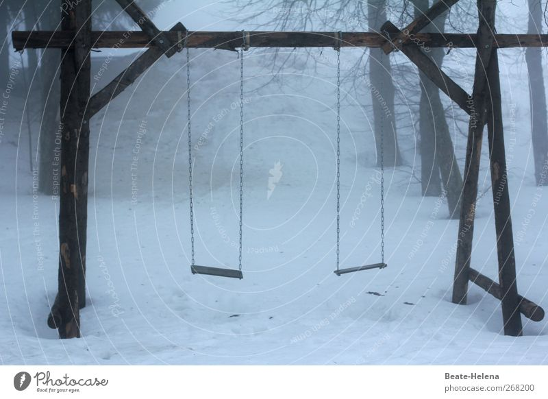 Die Ruhe vor dem Sturm weiß Winter Schnee Holz grau trist Schaukel Spielplatz trüb unbenutzt