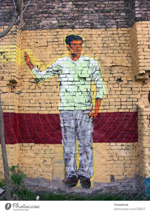 Mauerwerk - bunt Farbe Stein Graffiti Kunst Dresden Gesichtsausdruck Sachsen Fototechnik