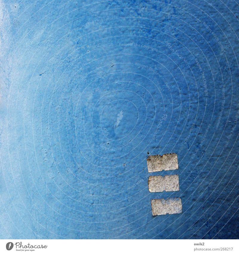 Blauklang Kunst Kunstwerk Gemälde Zeichen Ornament dünn eckig einfach klein niedlich trist blau Rätsel Vergänglichkeit minimalistisch wenige 3 Dreiklang
