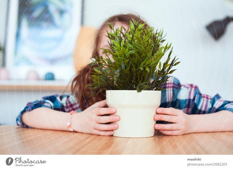 Kind Mädchen versteckt sich hinter der Zimmerpflanze im Topf. Lifestyle exotisch schön Gartenarbeit Pflanze Blume Orchidee Blatt Wachstum klein rosa rein Aktion
