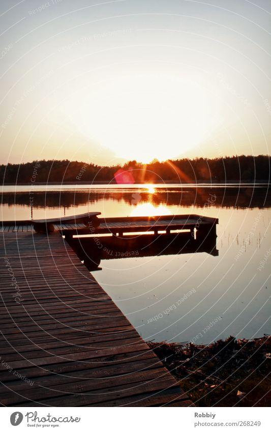 Am Braunsteich Natur Landschaft Wasser Wolkenloser Himmel Teich See Anlegestelle blau rot Romantik ruhig Erholung Ferien & Urlaub & Reisen Freizeit & Hobby