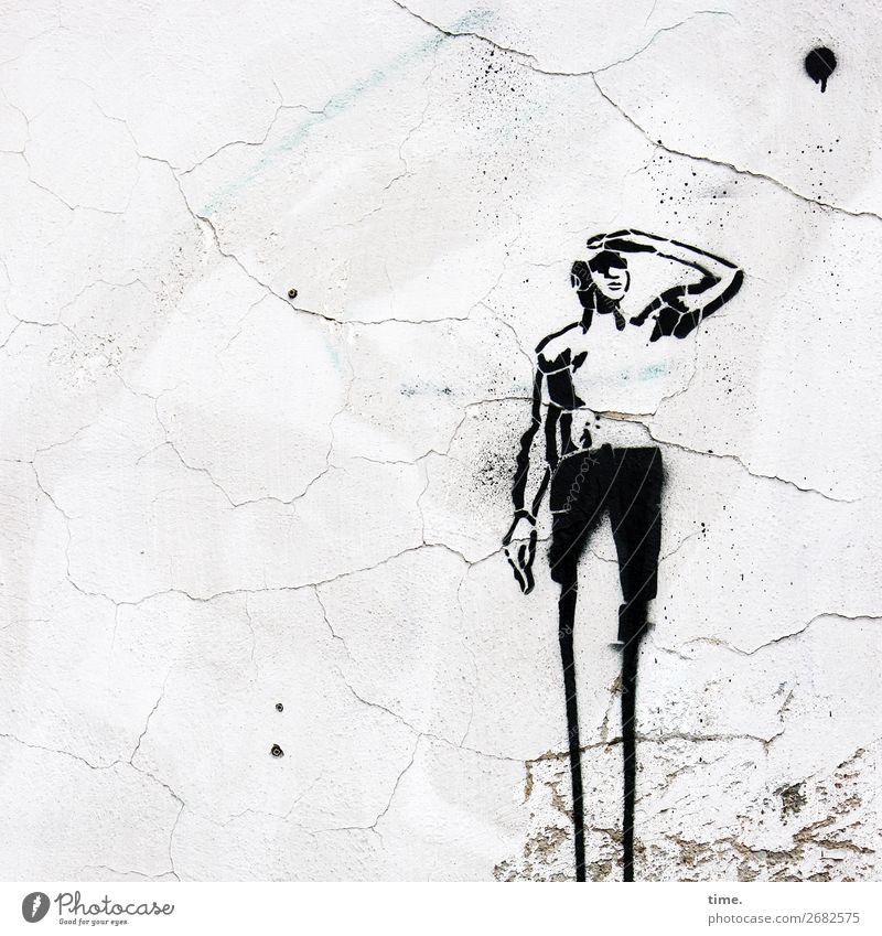 Neujahr's Look Kunst Kunstwerk Gemälde Mauer Wand Farbstoff Stein Graffiti beobachten festhalten Blick stehen warten Willensstärke Leidenschaft Wachsamkeit