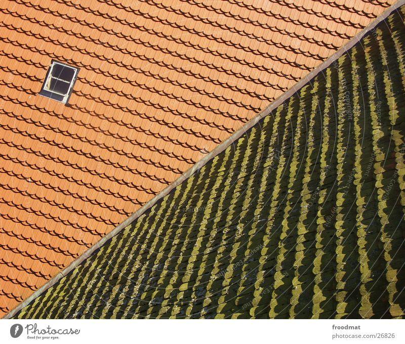 alt - neu - diagonal Dach Gegenteil Dachfenster Muster Vogelperspektive Fenster entgegengesetzt Architektur Dachsteine Strukturen & Formen verrückt