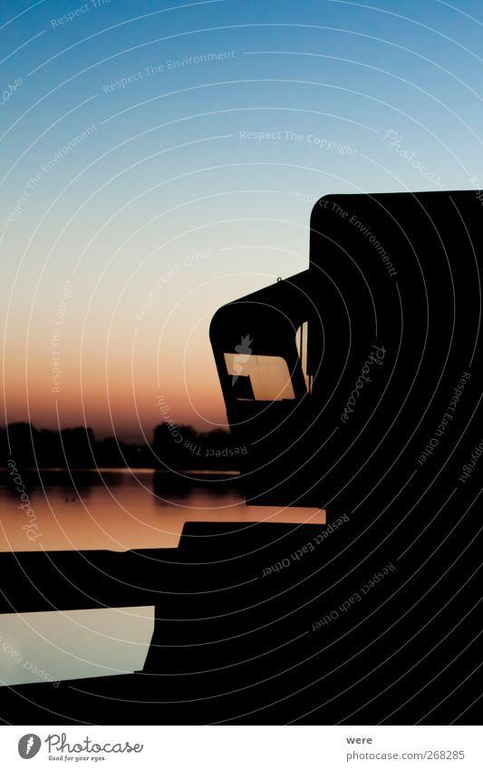 Feierabend am See Natur Wasser ruhig Einsamkeit Stimmung Energiewirtschaft Brücke Technik & Technologie Seeufer Flussufer Maschine Abenddämmerung Arbeitsplatz