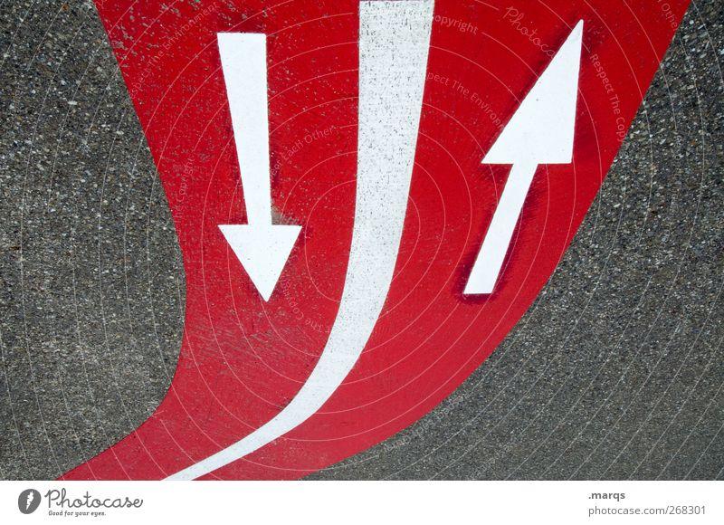 Auf und Ab weiß rot oben Wege & Pfade grau Linie Schilder & Markierungen Erfolg Beginn Design modern Verkehr Zukunft Perspektive Ziel Zeichen