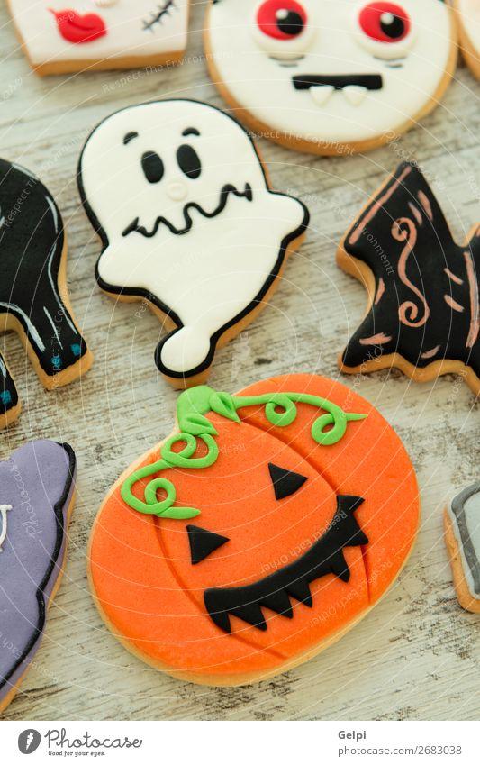 Halloween-Kekse mit verschiedenen Formen Dessert Freude Dekoration & Verzierung Tisch Feste & Feiern Herbst Katze Lächeln gruselig lecker schwarz weiß Angst
