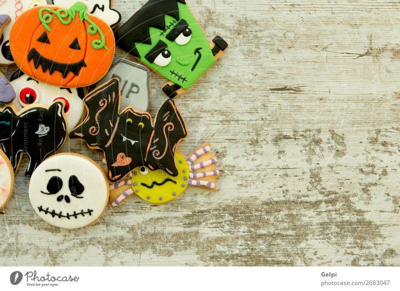 Halloween-Kekse mit verschiedenen Formen Dessert Freude Dekoration & Verzierung Tisch Feste & Feiern Herbst Katze Spinne Lächeln gruselig lecker schwarz weiß