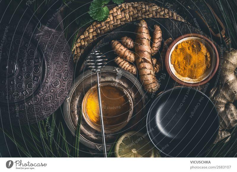 Gesunder Tee mit Honig und Kurkuma Lebensmittel Ernährung Getränk Heißgetränk Geschirr Tasse Stil Design Gesundheit Gesundheitswesen Behandlung