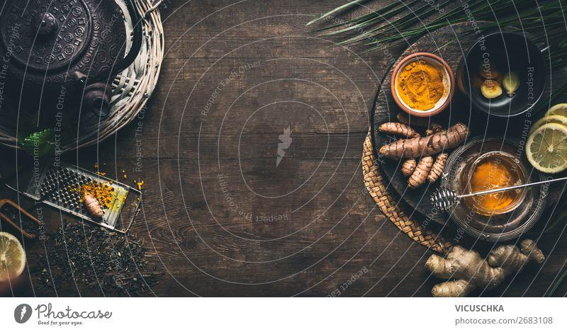 Kräuter Gelbwurz IngwerTee Hintergrund. Lebensmittel Kräuter & Gewürze Ernährung Bioprodukte Vegetarische Ernährung Diät Getränk Heißgetränk Geschirr Tasse Stil