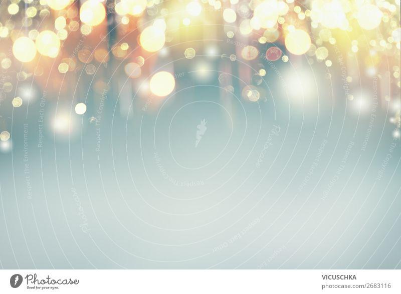 Golden Bokeh Hintergrund Lifestyle Design Dekoration & Verzierung Feste & Feiern gelb Hintergrundbild Unschärfe gold blau festlich glänzend strahlend Farbfoto