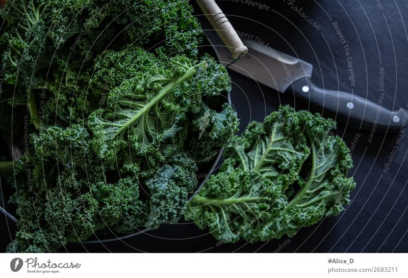 Frischer Grünkohl Wintergemüse Lebensmittel Gemüse Salat Salatbeilage Kohl Grünkohlblatt Bioprodukte Vegetarische Ernährung Diät Fasten Schalen & Schüsseln