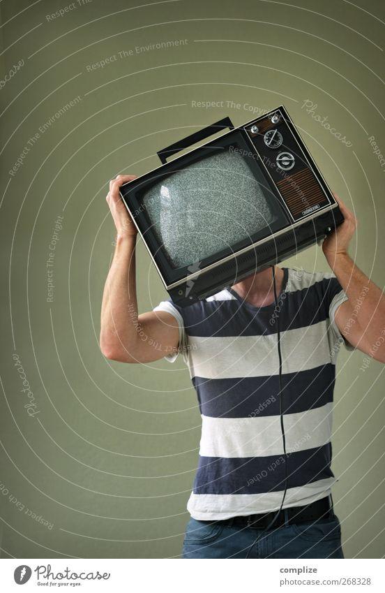 Der TV-Mann Freude Stil Kopf glänzend verrückt Kommunizieren Zukunft Telekommunikation Technik & Technologie Filmindustrie Fernseher Fernsehen Stahlkabel Kino Bildschirm Sucht