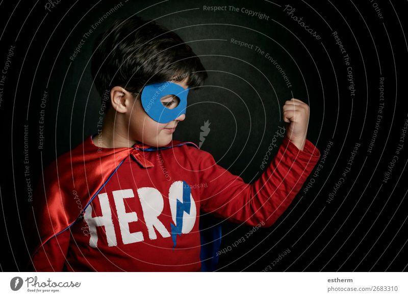 Superheld, Portrait des Jungen im Superheldenkostüm Lifestyle Freude Glück Abenteuer Feste & Feiern Halloween Jahrmarkt Erfolg Mensch maskulin Kind Kindheit 1
