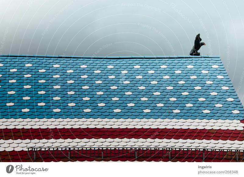 American Style in Germany blau weiß rot Haus Gebäude Stil Kunst Freizeit & Hobby außergewöhnlich Häusliches Leben Dekoration & Verzierung Dach Streifen Kitsch