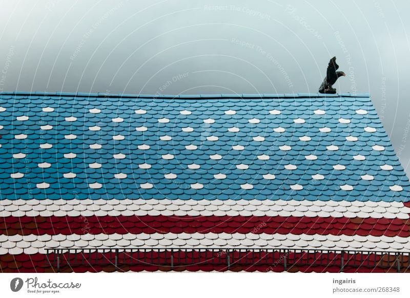 American Style in Germany Stil Freizeit & Hobby Haus Dekoration & Verzierung Kunst Skulptur Gebäude Dach Amerikanisch Dachgiebel Dachziegel Sehenswürdigkeit