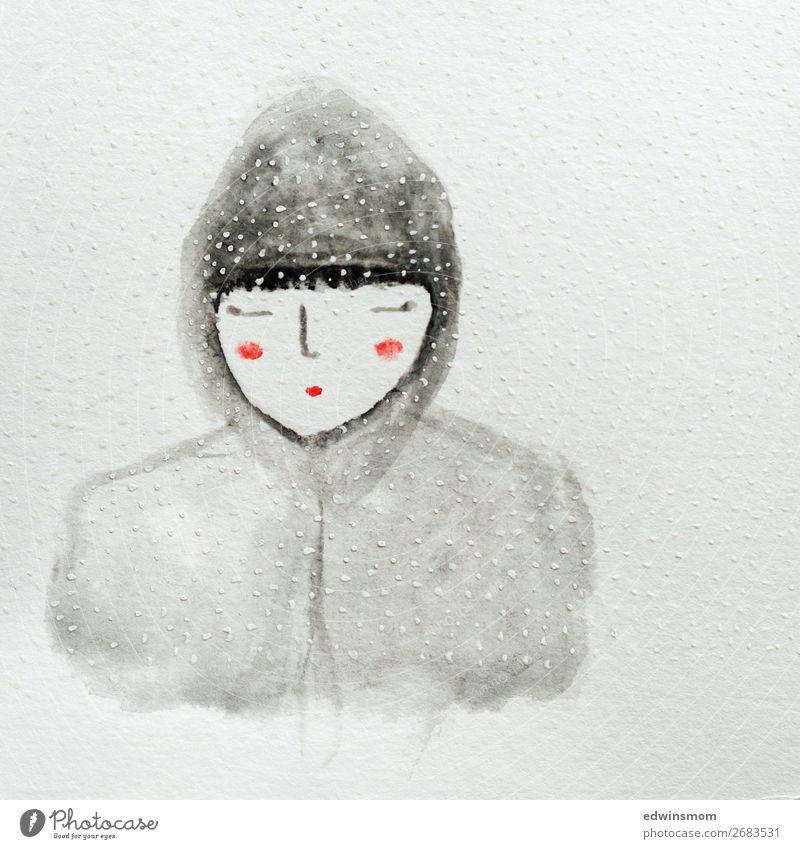 Snow flakes Winter Schnee Weihnachten & Advent feminin Junge Frau Jugendliche 1 Mensch Schneefall Jacke Kapuze schwarzhaarig Papier Dekoration & Verzierung