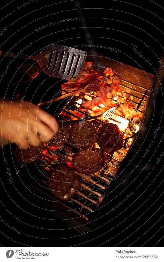 #AS# NachtBruzzler Lebensmittel Ernährung ästhetisch Grillen Nachtstimmung Steak Speck lecker Hamburger Cheeseburger Grillsaison Außenaufnahme Feuer Farbfoto
