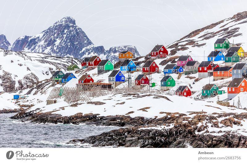 Kangamiut - buntes arktisches Dorf mitten im Nirgendwo Ferien & Urlaub & Reisen Tourismus Meer Winter Schnee Berge u. Gebirge Haus Natur Landschaft Wasser