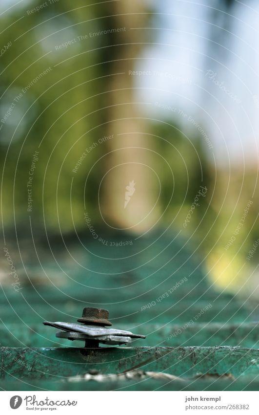 Hast du ne Schraube locker? Baum Garten Dorf Dach Wellblechhütte Schraubenmutter Metall Rost Kunststoff alt eckig kaputt retro Spitze trashig grün Einigkeit