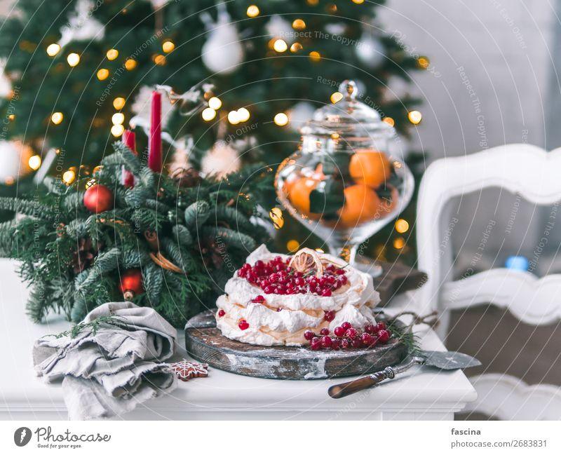 Baisertorte Pavlova mit frischen roten Johannisbeeren Käse Dessert Reichtum Sommer Feste & Feiern Weihnachten & Advent klein lecker pavlova Kuchen Schaumgebäck