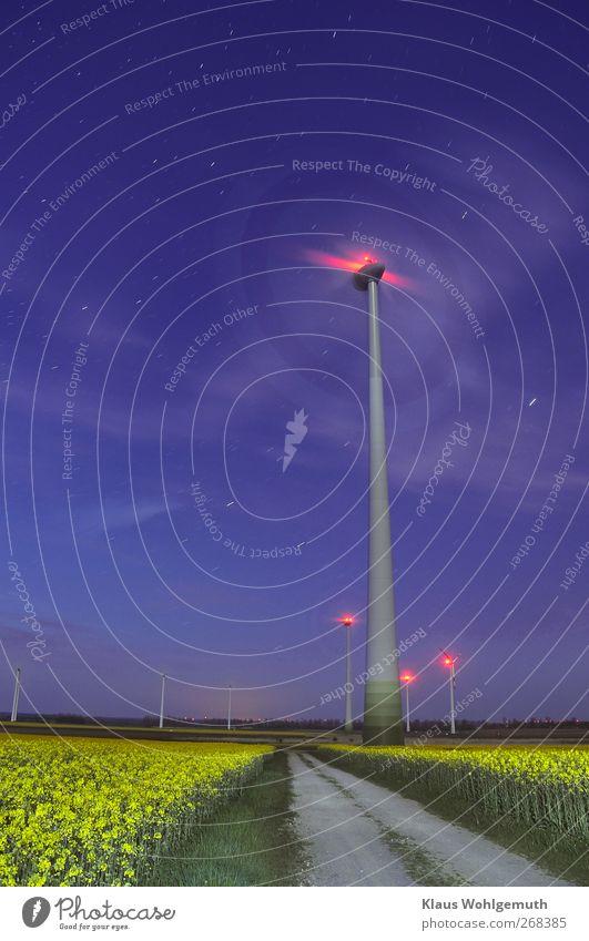 Rapsblüte im Mondschein Himmel blau grün rot gelb Frühling Horizont Energiewirtschaft Stern Zukunft Turm Technik & Technologie Schönes Wetter Bauwerk