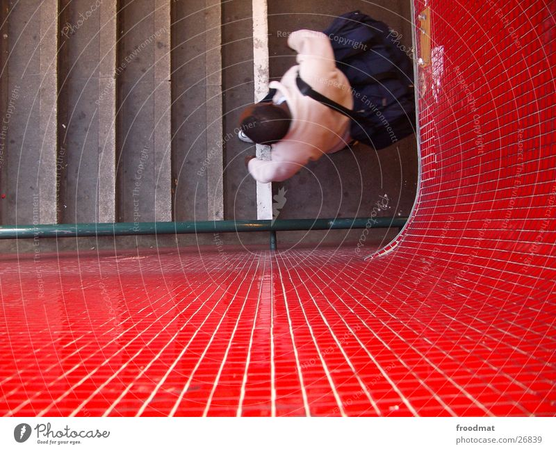 Rot   Grün   Treppe und von oben Mensch Fliesen u. Kacheln U-Bahn Geländer Mosaik