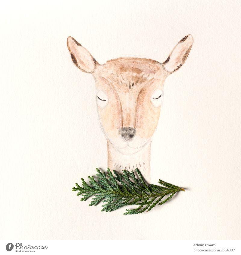 Oh deer Natur grün Tier ruhig Winter Herbst Wärme natürlich orange braun Dekoration & Verzierung wild Wildtier stehen Kreativität Sträucher