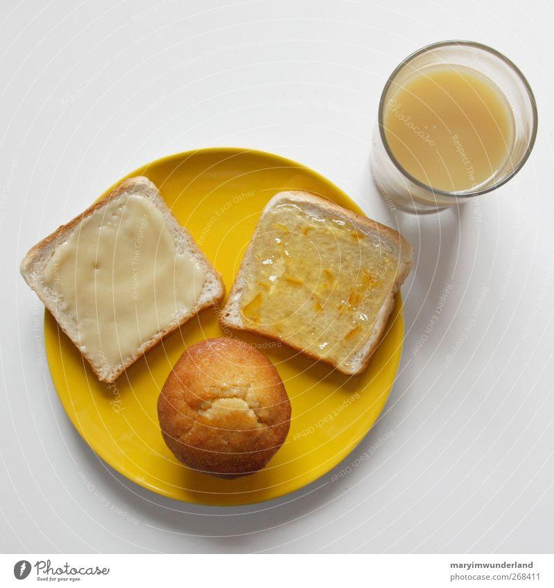 lecker gelb. Lebensmittel Kuchen Marmelade Frühstück Getränk Saft Geschirr Teller Glas Gesunde Ernährung Muffin Honig Morgen Toastbrot Farbfoto Innenaufnahme