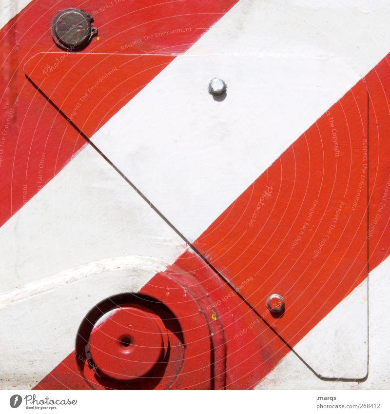 Metall Stil Design Industrie Maschine Schilder & Markierungen Streifen rot weiß Farbe Farbfoto Außenaufnahme Nahaufnahme abstrakt Muster Strukturen & Formen