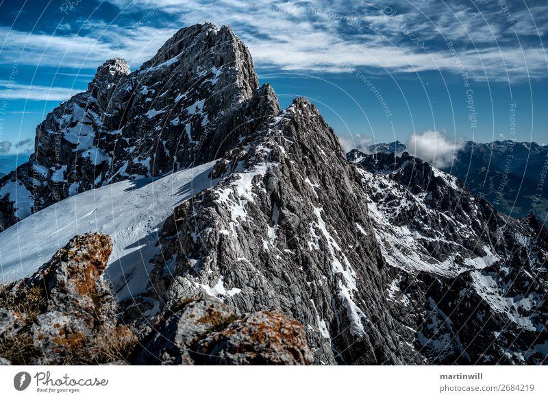 Gebirgsgrat zum Dirndln in der Dachsteingruppe wandern Schönes Wetter Felsen Alpen Berge u. Gebirge Bergkamm Grat Gipfel Felswand Aussicht Wolken Gipfelkreuz