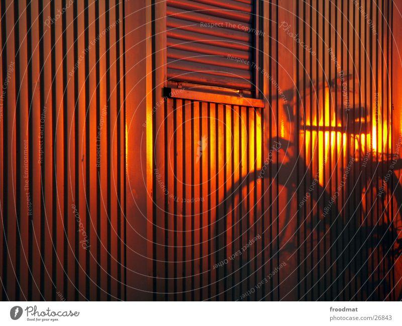 Fahrrad Sonnenuntergang Jalousie Streifen Fenster Bronze Silhouette geschlossen Fassade Blech unterwegs Bewegung Umweltschutz niedlich Sommer vertikal