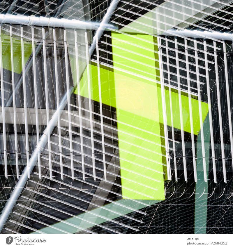 Farbkombination  | 4 Ziffern & Zahlen grün grau schwarz weiß Linie abstrakt Doppelbelichtung außergewöhnlich Grafik u. Illustration trendy Strukturen & Formen