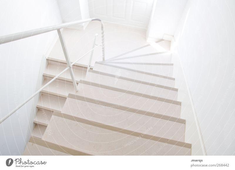 Stockwerk weiß Farbe oben Wege & Pfade hell Treppe modern neu Sauberkeit Zeichen Treppenhaus Treppengeländer