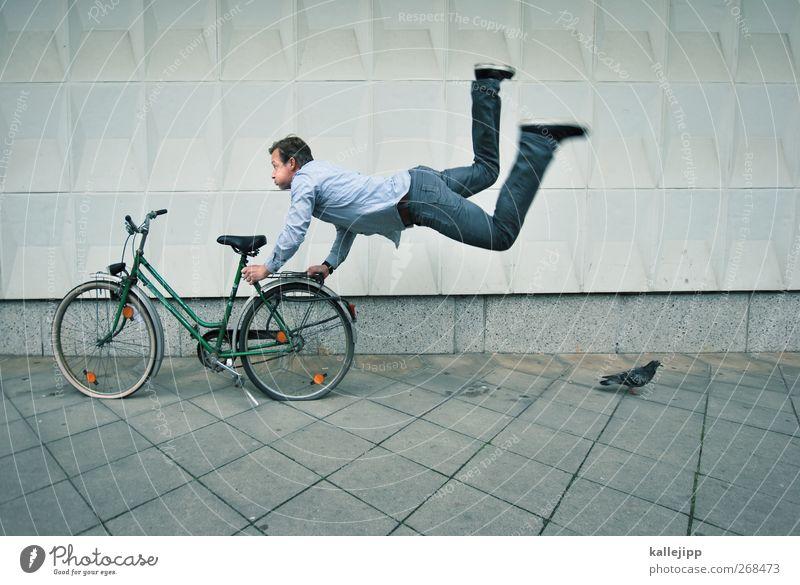 le tour Fahrrad Mensch Mann Erwachsene 1 30-45 Jahre Tier Vogel Taube springen fahren Geschwindigkeit Versicherung Farbfoto Gedeckte Farben Außenaufnahme Tag