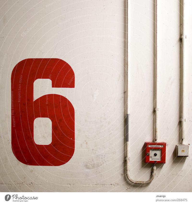 6 weiß rot Farbe Wand Mauer Ziffern & Zahlen Technik & Technologie Zeichen Todesangst Leitung Schalter Alarm Lichtschalter Feuermelder