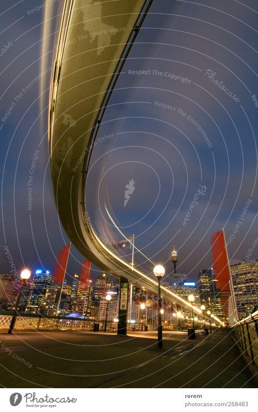 Stadt Ferien & Urlaub & Reisen Straße Architektur Bewegung Verkehr Tourismus Brücke Hafen Wahrzeichen Abenddämmerung Australien Sydney Schienenverkehr Ausflugsziel New South Wales