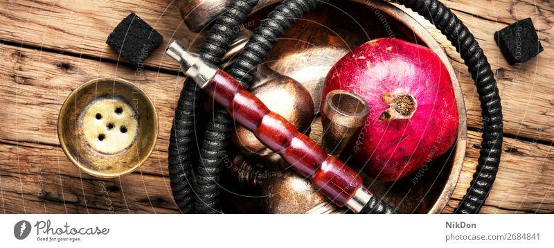 Wasserpfeife mit Granatapfel Wasserpfeifenrauch Tabak Rauch shisha Erholung Osten arabisch Röhren Türkisch Aroma Wasserpfeifen-Lounge Freizeit Stil Mundstück