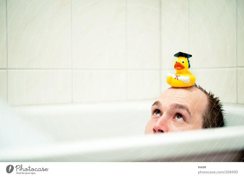 Käpt'n kuck Mensch Mann Jugendliche weiß Erwachsene Gesicht Junger Mann Haare & Frisuren lustig klein Kopf 18-30 Jahre liegen maskulin nass Studium