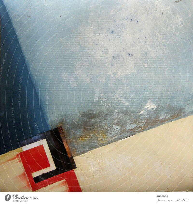 bild blau rot Kunst Gemälde Kunstwerk Leinwand Ölfarbe