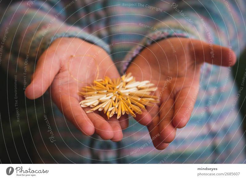 Kinderhände halten Strohstern Weihnachten & Advent Mädchen Hand 1 Mensch 3-8 Jahre Kindheit Stern (Symbol) träumen festlich Vorfreude Wollpullover