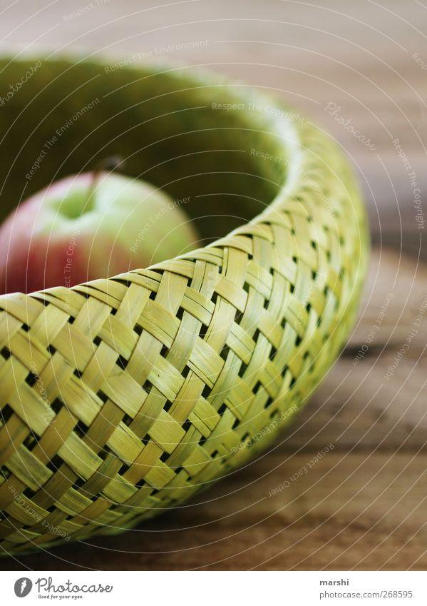 Apfel im Korb grün Gesundheit Frucht Ernährung Lebensmittel Dekoration & Verzierung Häusliches Leben Holztisch Pflanze Bast
