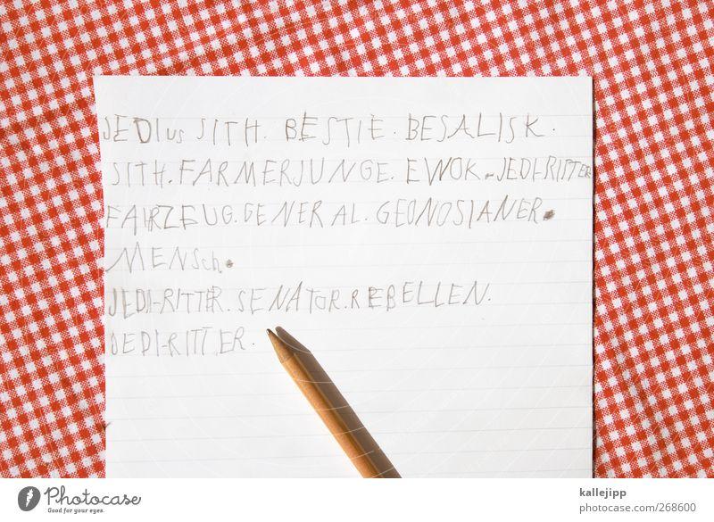 nicht von dieser welt weiß rot Schule Schriftzeichen lernen Papier Bildung Zeichen schreiben Schreibstift Kindererziehung Tischwäsche Bleistift üben Kinderspiel Mensch