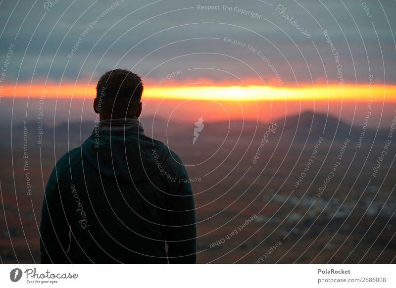 #AS# new day Natur Landschaft Leben Sonnenaufgang Licht Streifen Gold aufstehen genießen Junger Mann Aussicht beeindruckend gelb Berge u. Gebirge Meer mystisch