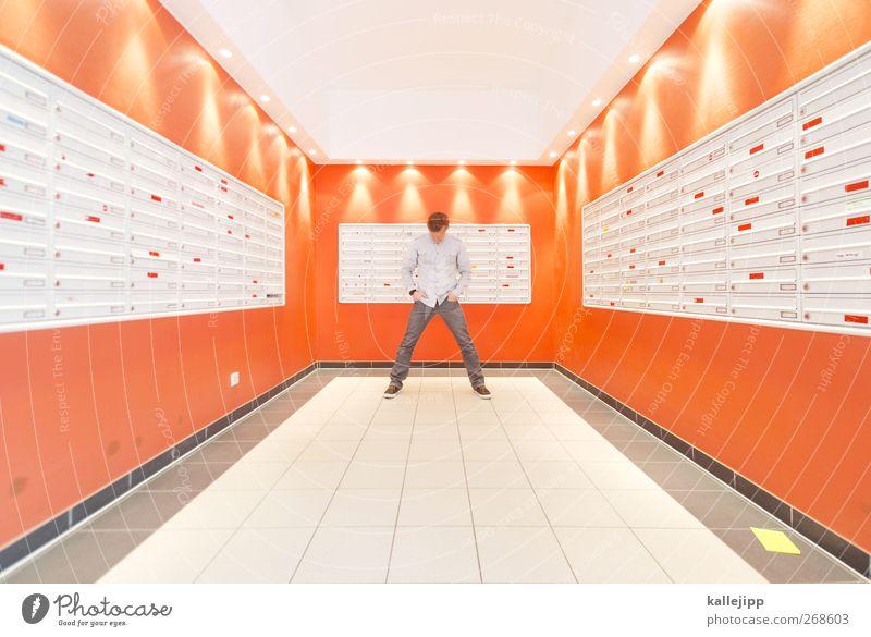 return to sender Mensch maskulin 1 Hochhaus stehen Briefkasten Innenarchitektur Symmetrie Adressat Orange anonym Zukunft Farbfoto Innenaufnahme Kunstlicht Licht